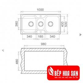 Chậu rửa inox TEKA CLASSIC 2½B  (2½C)