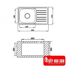 Chậu Rửa Chén Inox Hafele HS19-SSD1R60 567.20.093