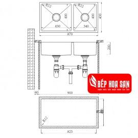 Chậu Rửa Chén Inox Hafele HS19-SSN2S90L 567.23.040
