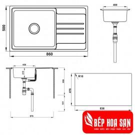 Chậu Rửa Chén Inox Hafele HS20-SSN1S60 567.20.266