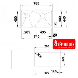 Chậu Rửa Chén Inox Hafele QUATRUS-R15-285.435IU 570.27.169