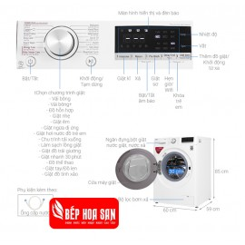 Máy Giặt LG FV1408S4W - 8.5Kg