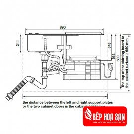 Chậu Kết Hợp Máy Rửa Chén Hafele HDW-SD90A 539.20.530 - 6 Bộ 1780W
