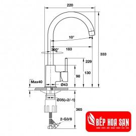Vòi Bếp Hafele HT19-CH1F220 570.51.290 - Nóng Lạnh