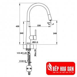 Vòi Bếp Hafele HT19-CH1F250 570.51.000 - Nóng Lạnh