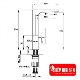 Vòi Bếp Hafele HT19-CH1F281 570.51.030 - Nóng Lạnh