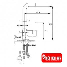 Vòi Bếp Hafele HT19-CH1P280 570.51.280 - Nóng Lạnh