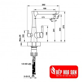 Vòi Bếp Hafele HT19-CH2F244 570.51.070 - Nóng Lạnh