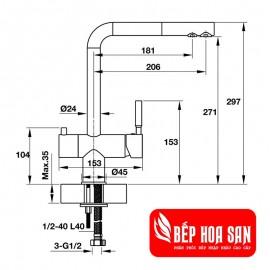 Vòi Bếp Hafele HT19-CH2P271 570.51.060 - Nóng Lạnh