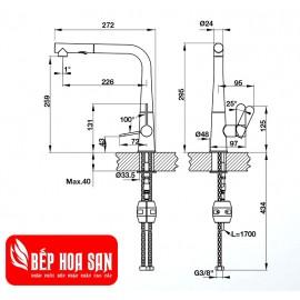 Vòi Bếp Hafele HT20-GH1P259 570.82.400 - Nóng Lạnh