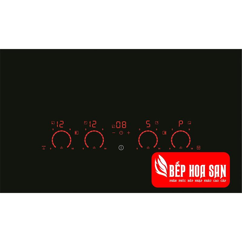 Hình ảnh bảng điều khiển của Bếp từ âm Electrolux EDH8740FOK với các tính năng và mức điều chỉnh nhiệt khác nhau