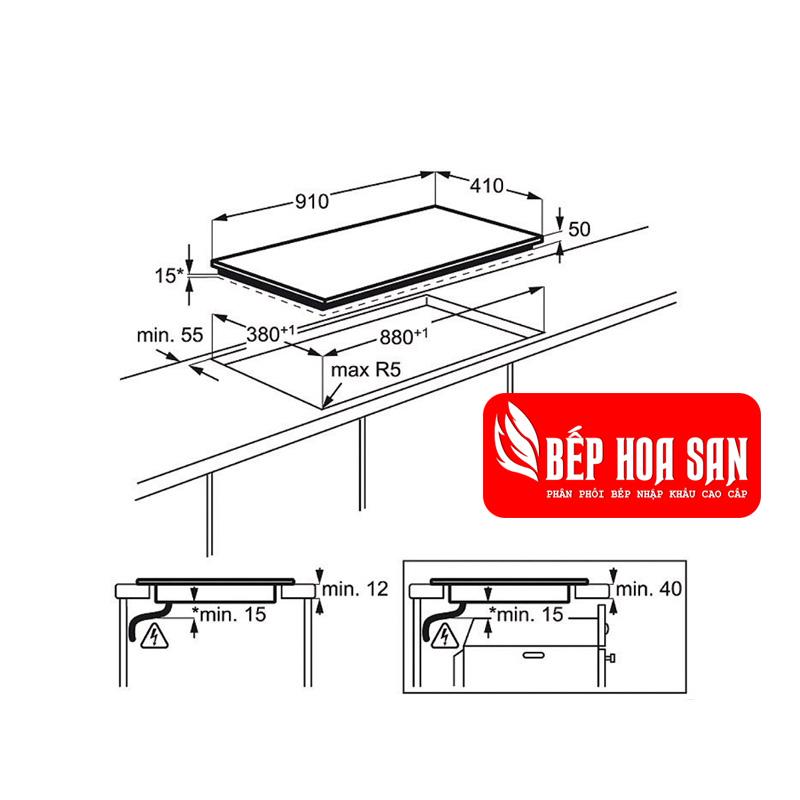 Hình ảnh chi tiết kích thước của bếp từ Electrolux EHL9530FOK và kích thước mặt cắt