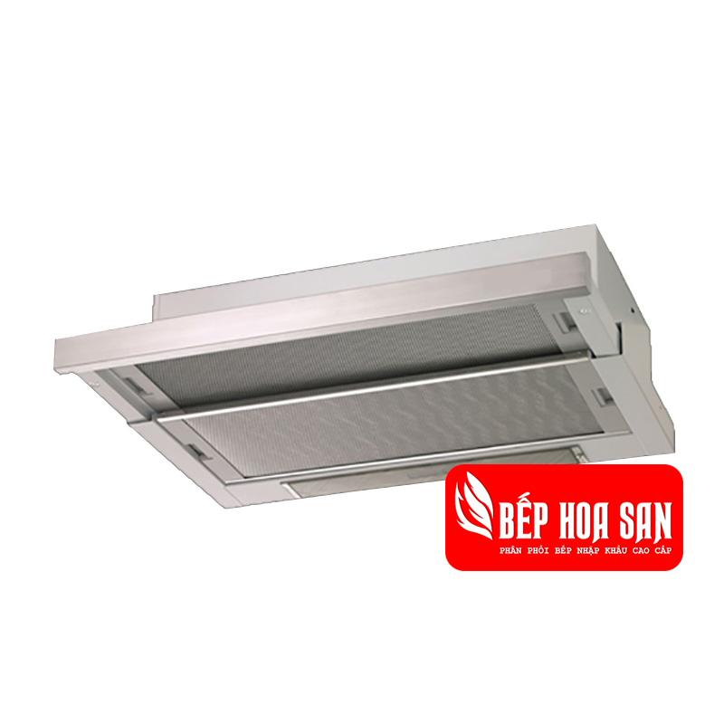 Hình ảnh máy hút mùi Electrolux EFP9250X được lắp âm tủ có màu bạc
