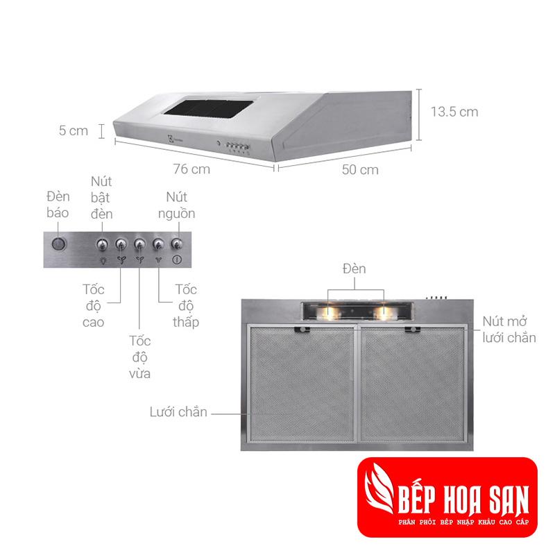 Hình ảnh máy hút mùi Electrolux EFT7516X được lắp âm tủ tiết kiệm diện tích