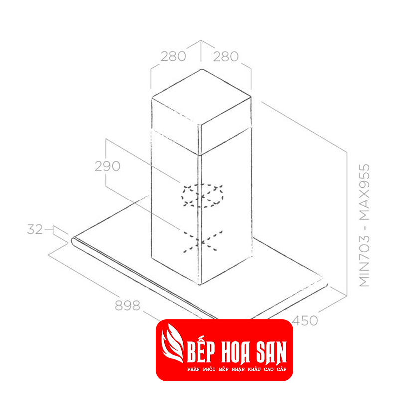 Thiết kế Máy Hút Mùi Elica Galaxy ISLAND BL IX/A/90x45