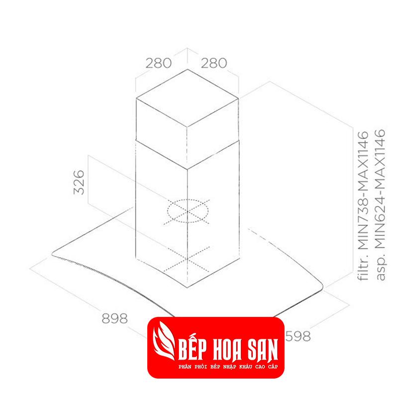 Thiết kế Máy Hút Mùi Elica REEF ISLAND IX/A/90x60