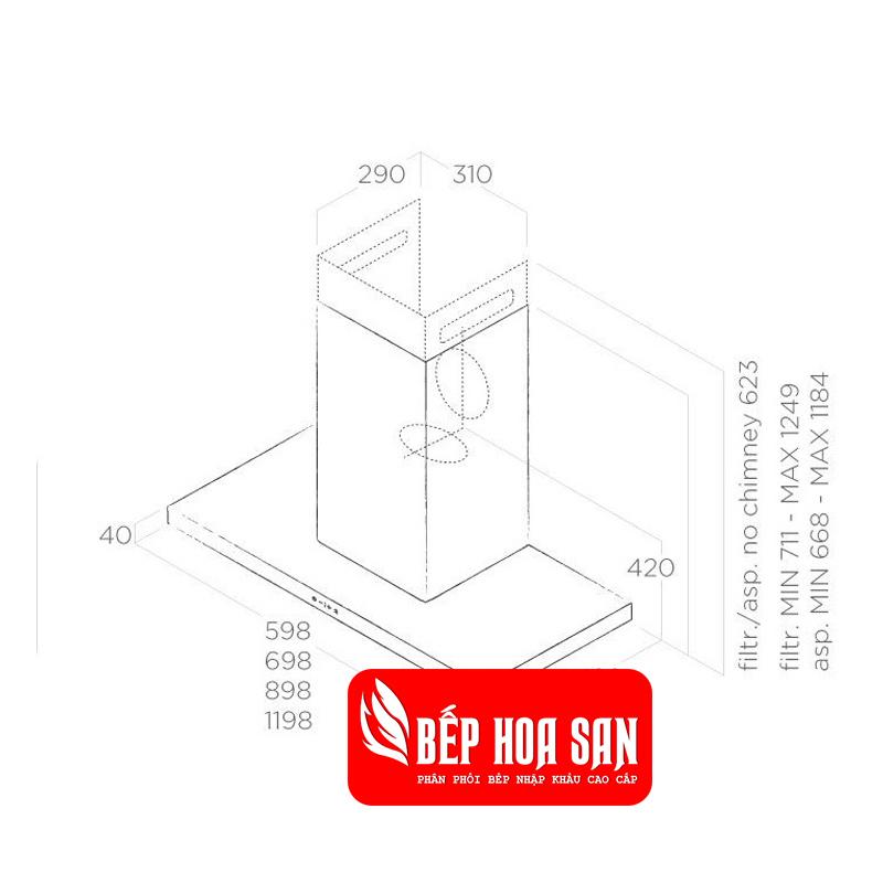 Thiết kế Máy Hút Mùi Elica THIN ISLAND IX/A/120