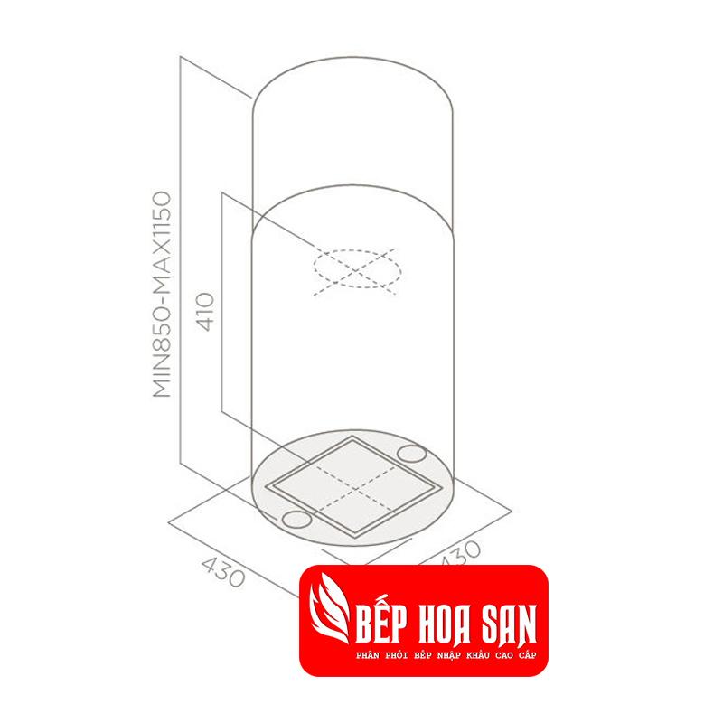 Thiết kế Máy Hút Mùi Elica TUBE ISLAND IX/A/43